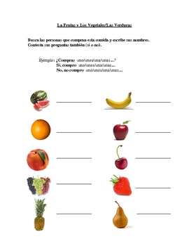 Interactive Spanish Speaking Activity with Fruit and Veget