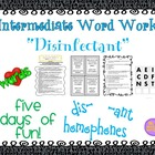 "Word Work and Vocabulary 5-Day Intermediate Unit ""DISINFECTANT"""