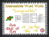 "Word Work and Vocabulary 5-Day Intermediate Unit ""IRRESPONSIBLE"""