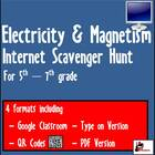 Internet Scavenger Hunt - Fifth Grade and Up - Electricity