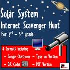 Internet Scavenger Hunt - Fourth Grade and Up Solar System