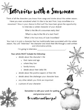 Interview with a Snowman - Winter Writing Activity