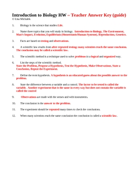 Introduction to Biology Scientific Method Homework