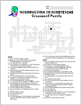 Introduction to Ecosystems - Crossword