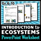 Introduction to Ecosystems - PowerPoint Worksheet