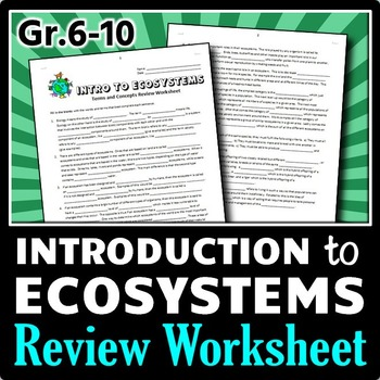 Introduction to Ecosystems - Review Worksheet
