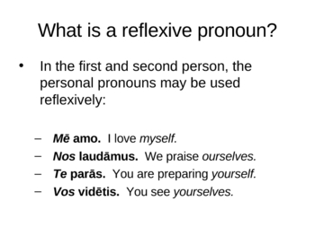 Introduction to the Reflexive Pronoun