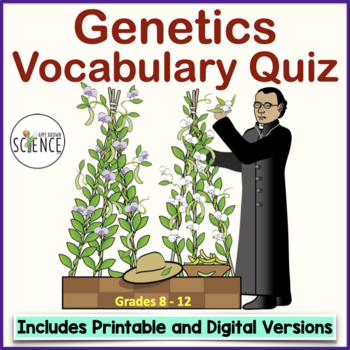 Introductory Genetics Vocabulary Quiz or Homework- Mendel's Work