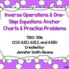 Inverse Operations and One Step Equations Anchor Charts an