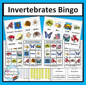 Invertebrate Animals Bingo Game