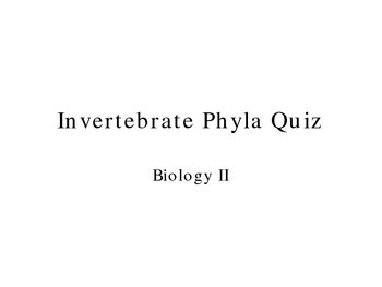 Invertebrate Zoo Ppt Quiz