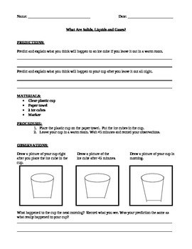 Investigation Using Solids, Liquids, and Gases