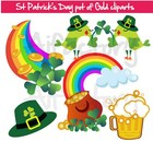 Irish pot of Gold and Shamrock clipart