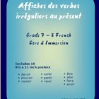 Irregular Verb Conjugation Posters - Intermediate French