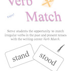 Irregular Verb Match Game or Writing Center Great for One 