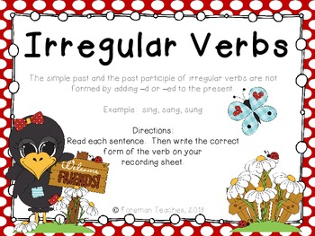 Irregular Verbs - Task Cards