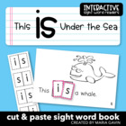 """Interactive Sight Word Reader """"Is"""" Under the Sea Theme Reader"""