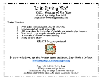 Is it Spring Yet? Seasons of the Year Game