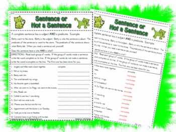 Is it a Sentence, or not a Sentence?  worksheet activty pa