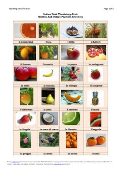 Italian Food Vocabulary-Fruit