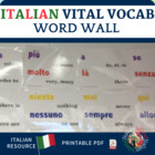 Italian Vital Vocabulary Word Wall