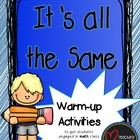 It's All the Same - A Warm-up Math Activity