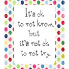 It&#039;s Ok Not to Know Motivational Poster for Classroom
