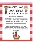 It&#039;s Pirate Day! Math and LIteracy Activities for a Day of