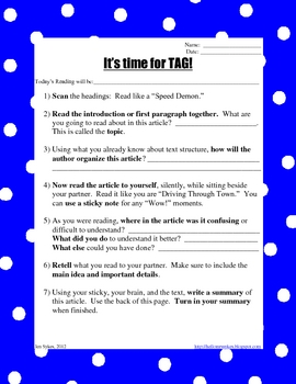 It's Time for Tag - Before, During, After Reading Comprehension