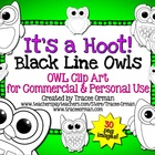 It's a Hoot! Black Line Owl Clipart Graphics for Commercial Use
