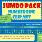 JUMBO PACK Number Line Clip Art  Fractions Common Core Mat