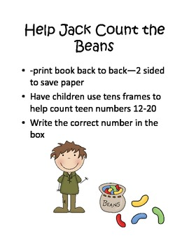 Jack and the Beanstalk Counting Beans 12-20 using tens fra