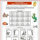 James and the Giant Peach Cut-out puzzle vocabulary challe