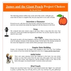 James and the Giant Peach Reading Creative Project, Activi