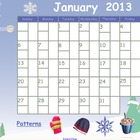 January 2013 Calendar for Smartboard