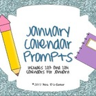 January Calendar Writing Prompts - Calendar Journal Prompts