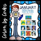 January Math & Literacy Color by Codes