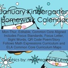 January Mon.-Thur. Common Core Kindergarten 4 Week Homewor