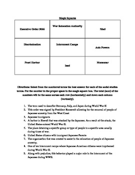 Japanese Internment Magic Squares Activity