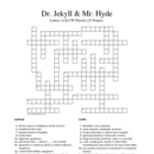 Jekyll and Hyde Crossword Puzzle 25 A-B Words (Stevenson)