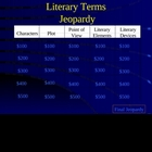 Jeopardy Game Literary Terms