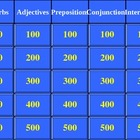 Jeopardy Game - Prepositions, Conjunctions, Interjections,