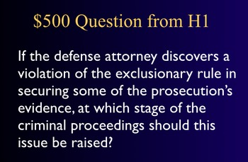 Jeopardy Law Game, Criminal Processes, Proceedings, Trials