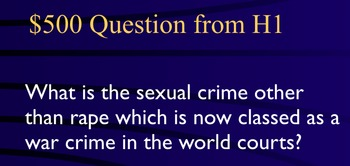 Jeopardy Law Game, SEX CRIMES, Criminal Law & Justice