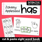 "Interactive Sight Word Reader ""Johnny Appleseed Has"""