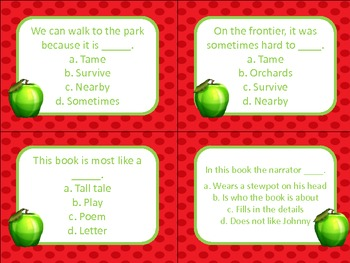 Johnny Appleseed Quiz Quiz Trade Cards Harcourt Trophies 2nd