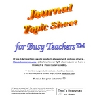 Journal / Topic Sheet (Three Templates) for Busy Teachers