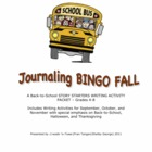 Journaling BINGO Fall Story Starters and Back-to-School Writing