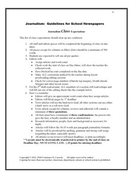 Journalism Article & Layout Rubric & Guidelines Printables