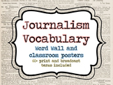 Journalism Vocabulary Terms Word Wall and Classroom Poster